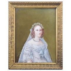 """Lady"", Portrait on Porcelain, Signed at Bottom Left Corne, 19th Century"