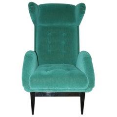 Midcentury Green Velvet French Armchair, 1950