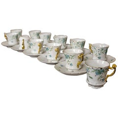 Set of Carl Tielsch Cups and Saucers, circa 1870-1900