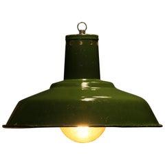 1960s Large Enamelled Factory Lamp Model 33 Mi 'Green Version'