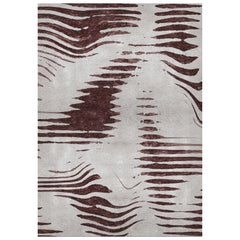 Kotta Ivory & Brown Area Rug in Hand-Tufted Wool & Botanical Silk by Rug'Society