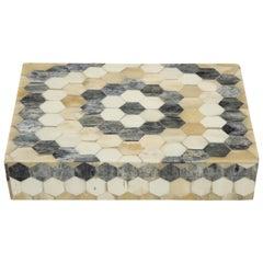 Grey, Natural, Tan Bone Mosaic Pattern Box