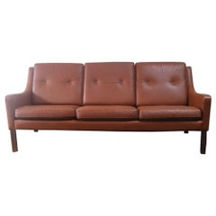 Danish 1970s Tan Leather 3-Seat Sofa in the Style of Børge Mogensen