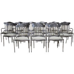 Set of 14 Spanish Steel and Brass Dining Chairs