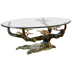 Cast Patinated Brass and Glass 'Bonsai' Tree Form Coffee Table c.1980s Belgium