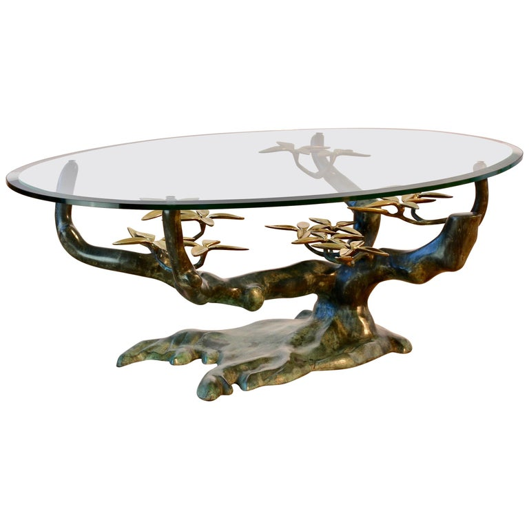 Cast Patinated Brass and Glass 'Bonsai' Tree Form Coffee Table c.1980s Belgium For Sale