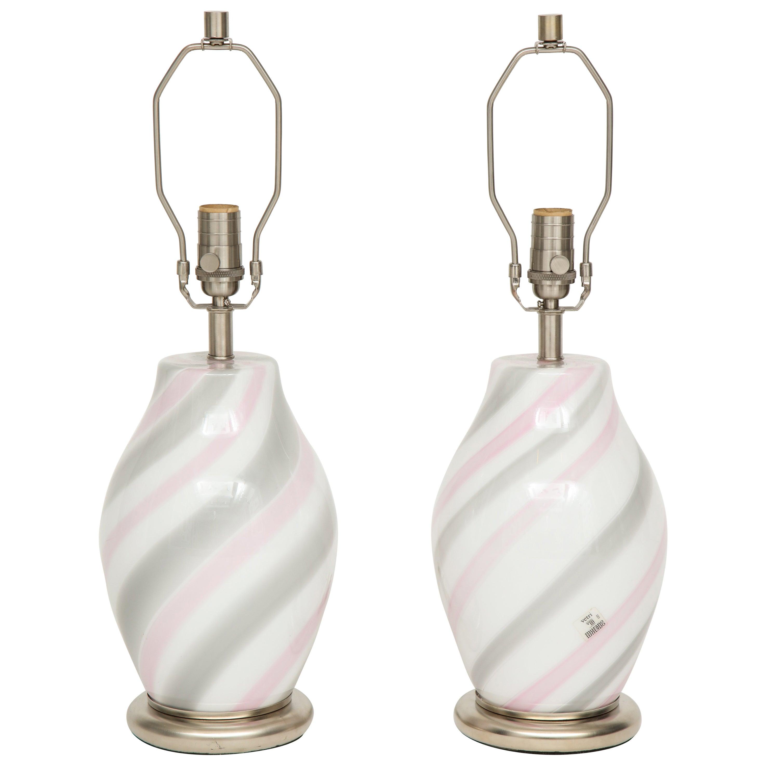 Vetri Pink, Grey, White Murano Glass Lamps