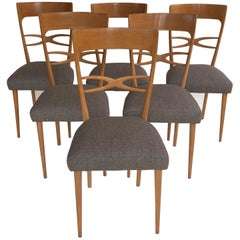 Set of 6 Midcentury Italian Dining Chairs, 1950s, Blond Wood, Grey Upholstery