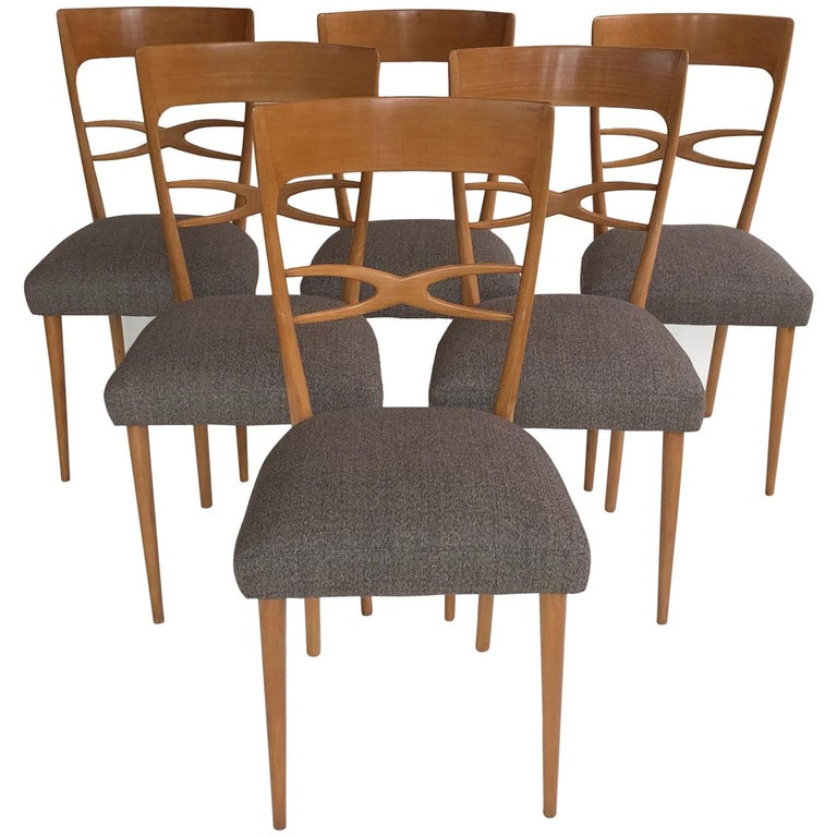 Set Of 6 Midcentury Italian Dining Chairs 1950s Blond Wood Grey Upholstery For