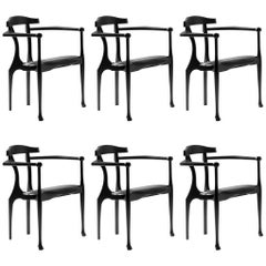 Set of 6 Oscar Tusquets Mid Century Modern Black Ash Gaulino Spanish Easy Chairs
