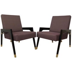 Pair of Midcentury Wood Fabric and Brass Italian Armchairs, 1950