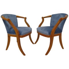Pair of Midcentury Cherrywood and Blu Velvet Italian Armchairs, 1950