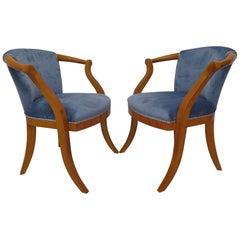 Pair of Midcentury Cherrywood and Blu Velvet Italian Armchairs, 1950