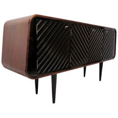Midcentury Walnut and Black Shellac Italian Sideboard, 1950