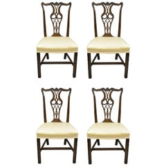 Antique Mahogany Pagoda Carved Chinese Chippendale Style Dining Chairs Set of 4