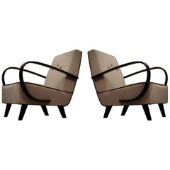 Pairs of Midcentury Beech and Fabric Armchairs, 1950