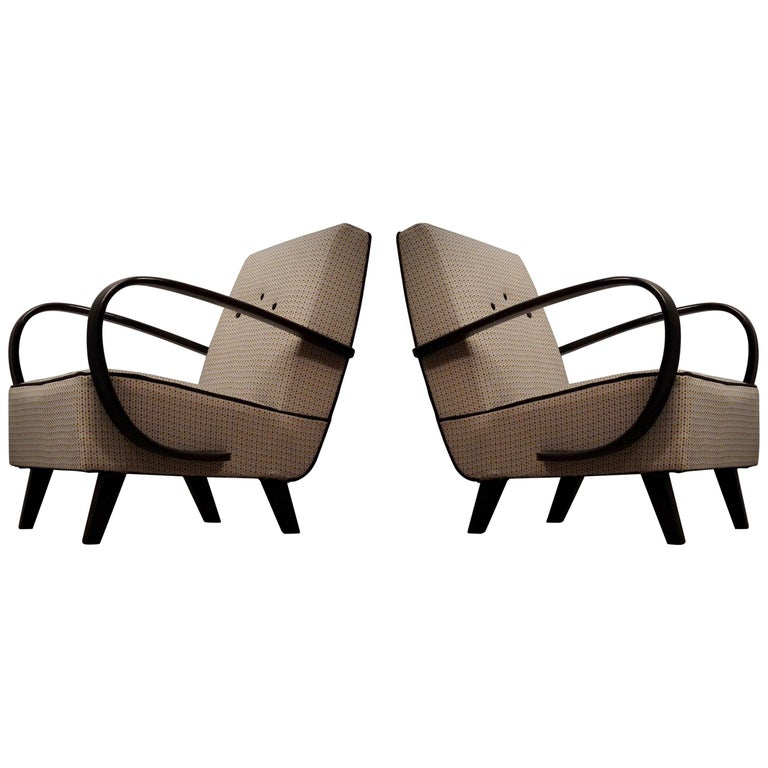 Pairs of Midcentury Beech and Fabric Armchairs, 1950 For Sale