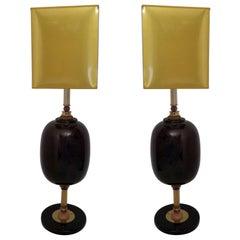 Murano Art Glass Italian Midcentury Table Lamps, 1970