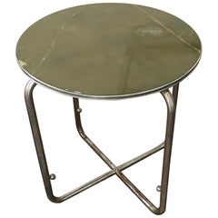 Steel Tube Side Table with Solid Onyx Plate