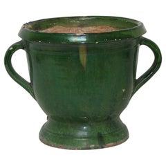 French 19th Century Green Glazed Earthenware Castelnaudary Planter