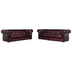 Chesterfield Leather Sofa Set Red Vintage Two-Seat Couch