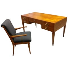Italian Midcentury Desk and Matching Chair, 1950s, Issel