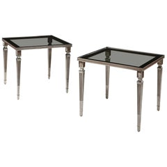Pair of Silver Plated Occasional Tables with Original Glass Tops after Jansen