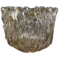 Murano Midcentury Light Amber Art Glass Italian Side Table, 1950