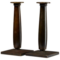 Pair of Bronze Candle Holders Designed by Just Andersen, Denmark. 1920s