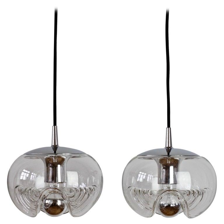 Peill & Putzler Pair of Biomorphic 'Futura' Clear Glass Pendant Lights, 1970s