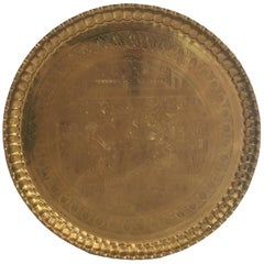 Large Hanging Egyptian Brass Tray Platter