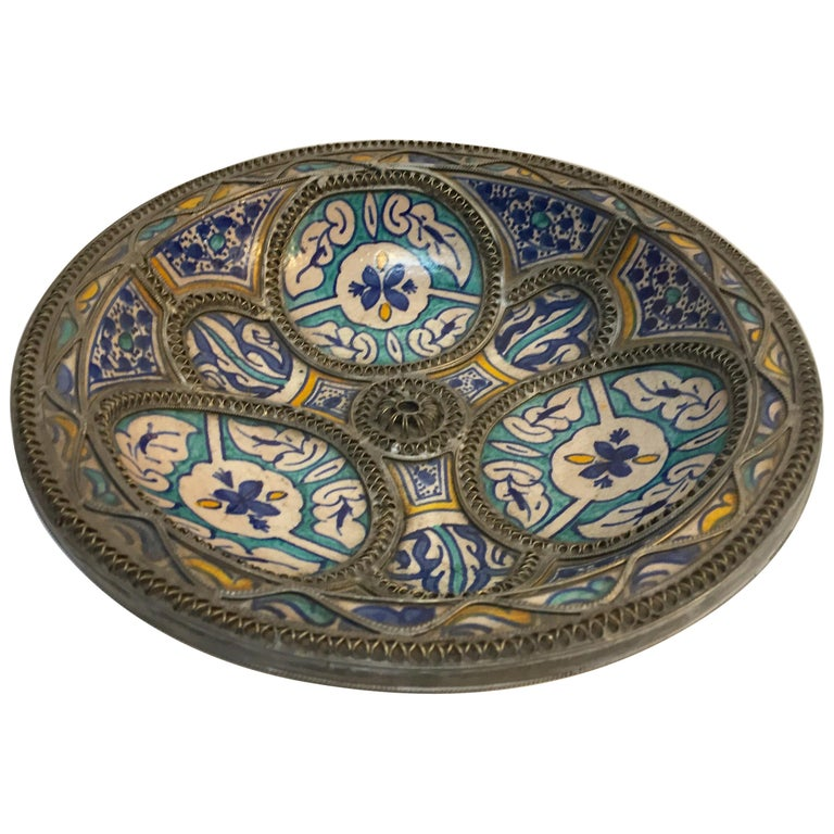 Moroccan Ceramic Plate Adorned with Silver Filigree from Fez