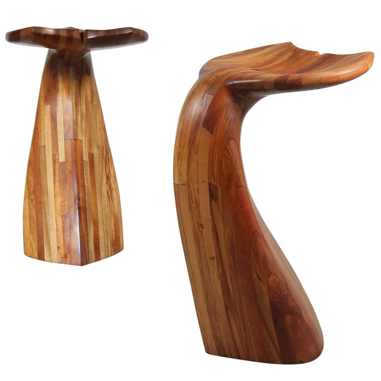 Wooden Whale Tail Bar Stools, 1980s