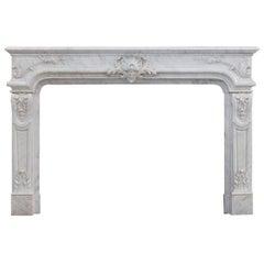Louis XIV Style Carrara Marble Fireplace