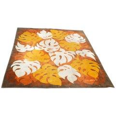 Italian 1960s Orange Floral Lounge Carpet