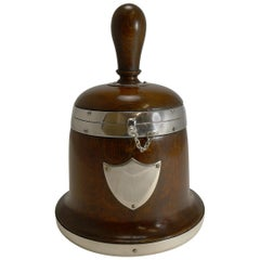 Rare Antique English Bell Shaped Oak and Silver Plate Biscuit Box, circa 1890