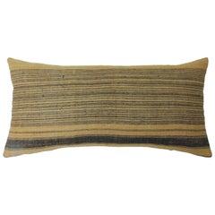 "Asian Orange and Brown Woven ""Melati"" Stripes Decorative Bolster Pillow"