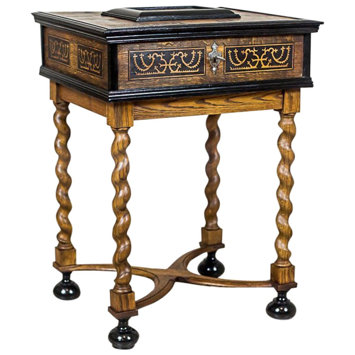 Neo-Baroque Oak Sewing Table, circa Late 19th Century