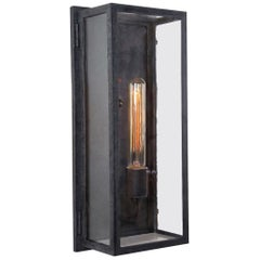 Contemporary Rectangular Exterior Wrought Iron Lantern, Clean Lines Simple