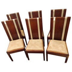 Six Mid-Century Modern or Art Deco Dining Chairs in the Manner of Jean M. Frank