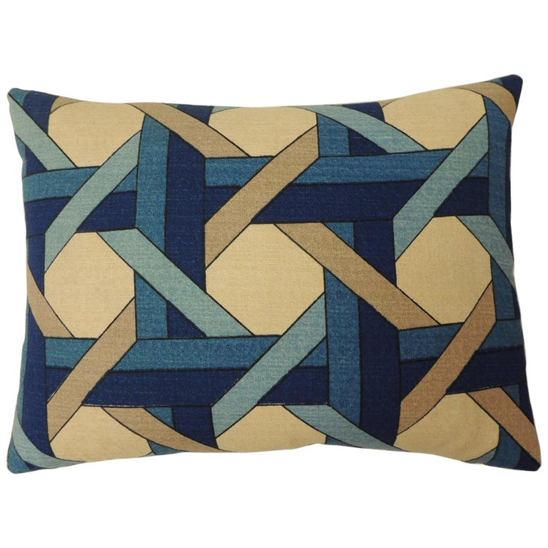 "Blue and Natural ""Riviera"" Trellis Bolster Decorative Pillow Double-Sided"