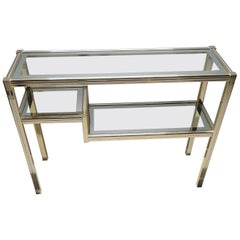 Vintage Brass and Glass 3-Tier Console Table in Style of Pierre Vandel, 1980s