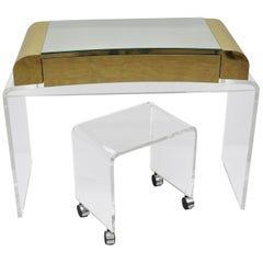 Lucite Waterfall Mirrored Vanity Table and Vanity Bench Brass Trim Chrome Wheels