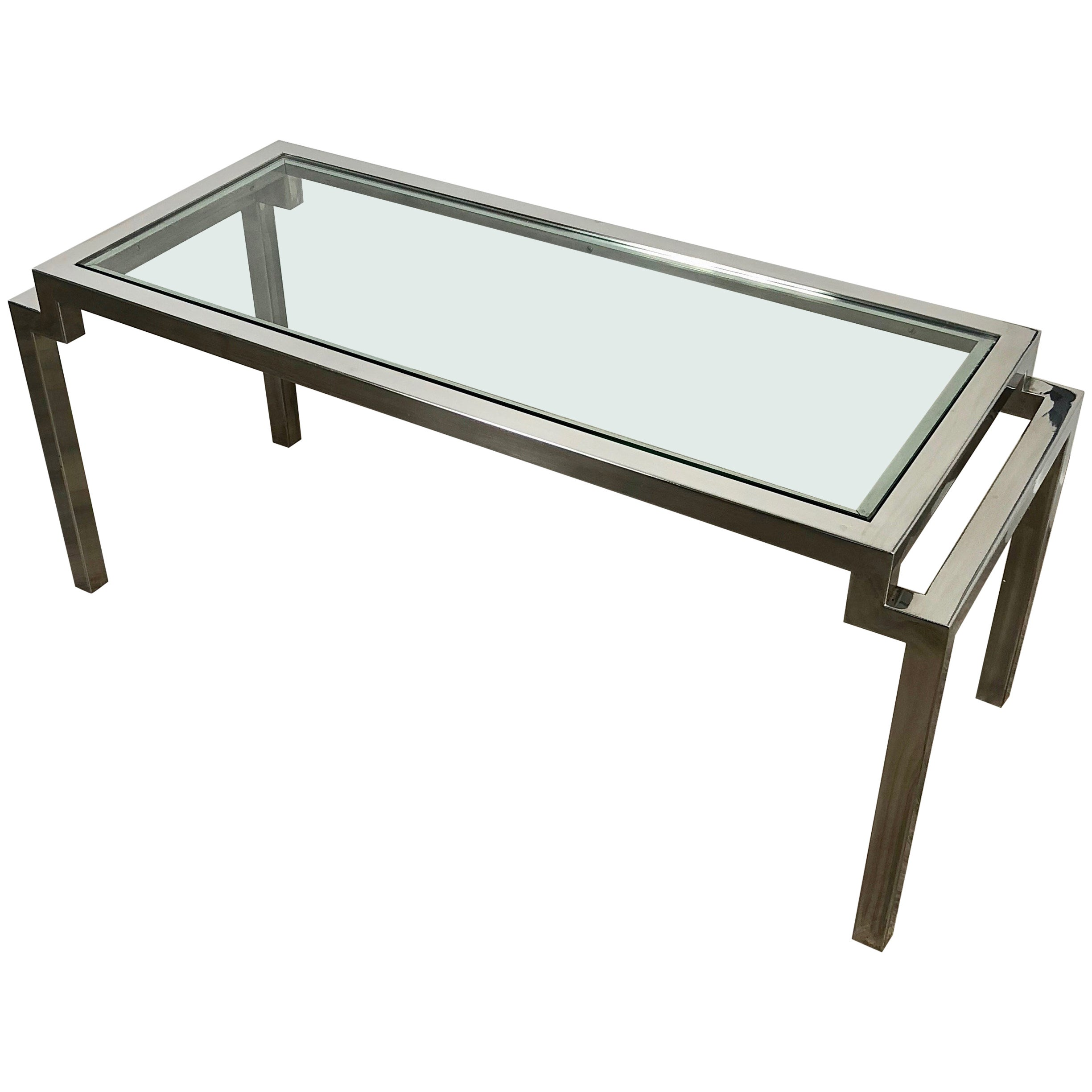 Coffee Table in Chrome and Glass 1970s Modern, Italy