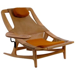 Norwegian Midcentury Leather Oak Recliner with Table Tidemand Ruud Norcraft