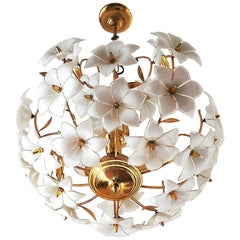 Vintage Midcentury Italian Murano Flower Venini Art Glass Gilt Brass Chandelier