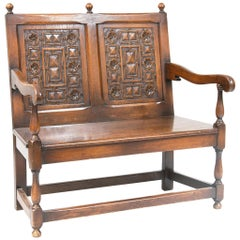 Early 20th Century Dutch Carved Oak Settee Bench