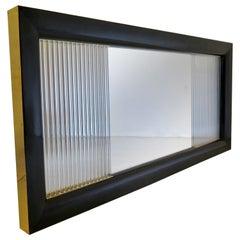 Murano Glass Wood and Brass Midcentury Italian Wall Mirror, 1930