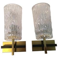 Pair of Lovely Austrian Kalmar Style Glass Sconces