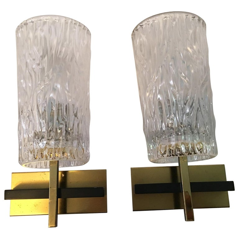 Pair of Lovely Austrian Kalmar Style Glass Sconces For Sale